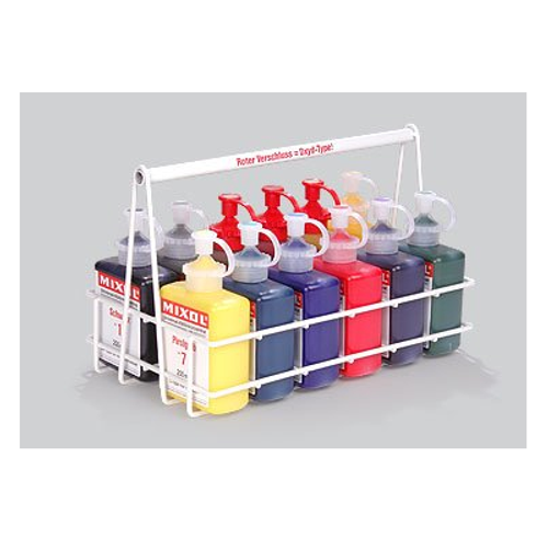 12 piece set of 200ml Mixols with wire carrying rack.
