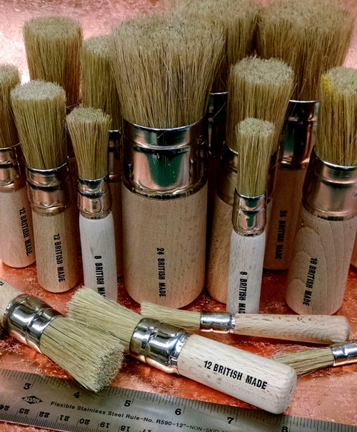 Assorted White Bristle Stencil Brushes