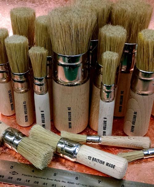 Assorted White Bristle Stencil Brushes