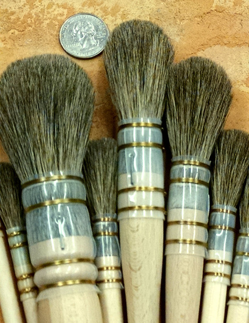 French Polish Mops with wired acetate quills for wet work.