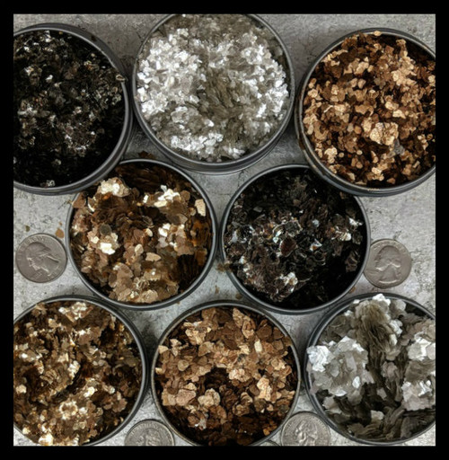 These are natural mica flakes given a metallic treatment with thin layers of Titanium Dioxide or Iron Oxide.  They are non-reactive with most painting mediums and solvents. They are graded in size to mesh 4-8 and mesh 8-20 and are sold by weight in bags of 3.5oz/100gram an 1 Pound.