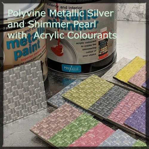 Polyvine Metallic Silver and Metallic Shimmer (Pearl) with Acrylic Colorants.