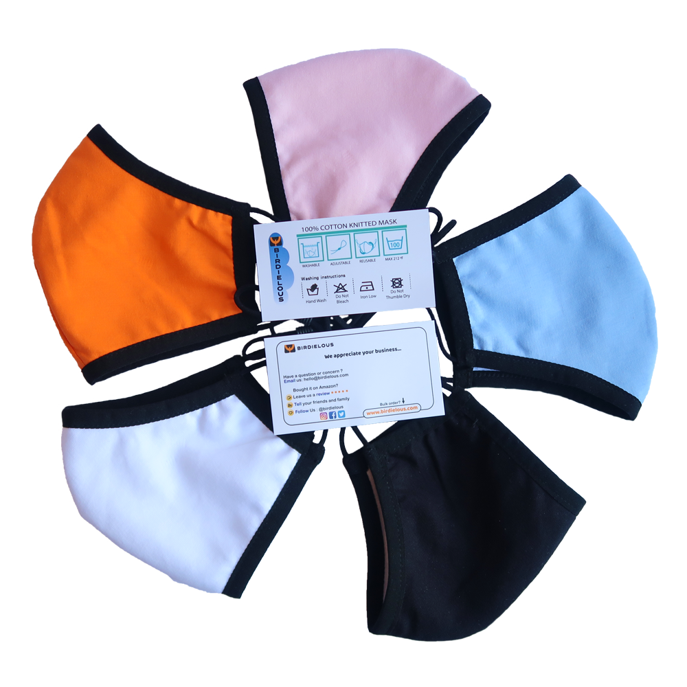 Birdielous Cotton Face Mask Light color design options to reduce heat absorption