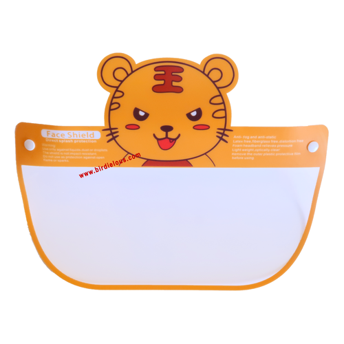 Birdielous Kids Tiger Safety Face Shield (1 Pack) Full Face eyes nose mouth Protection Clear Visor double Side Anti-Fog