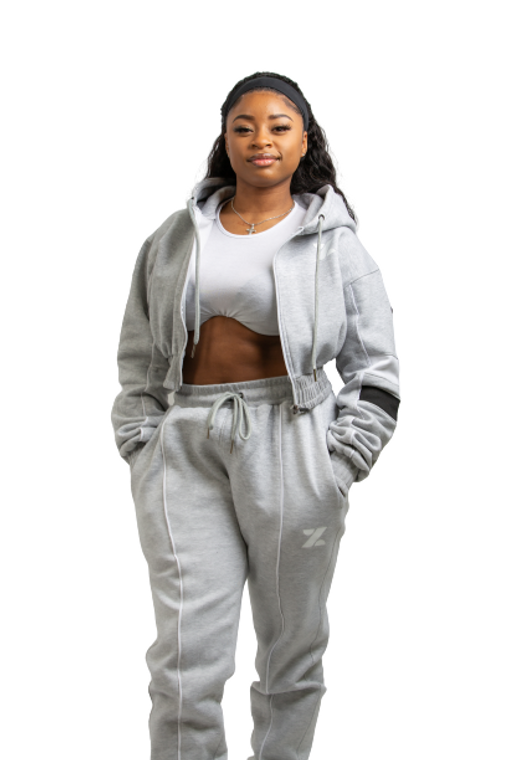 NDORA - Grey crop top ladies tracksuit
