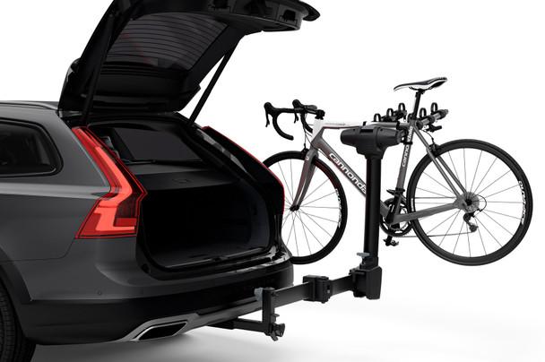 Thule Apex XT Swing 4-Bike Rack (on vehicle with open hatch, open swing arm)