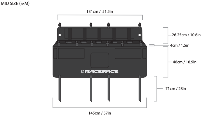 Race Face T2 Tailgate Pad S/M Dimensions