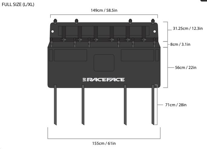 Race Face T2 Tailgate Pad L/XL Dimensions