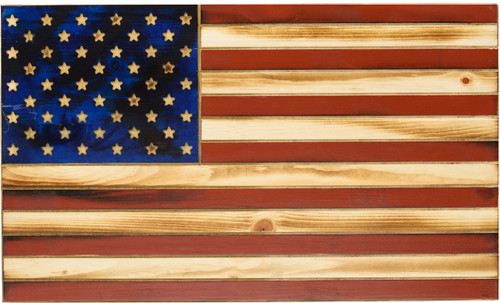 """Old Glory"" Red & Blue Rustic Flag"