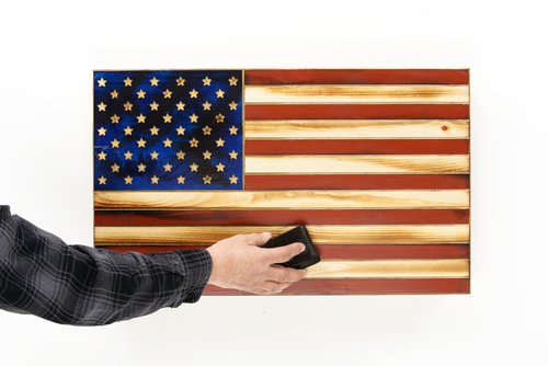 """""""Old Glory"""" Red & Blue Rustic Flag"""