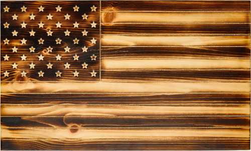 """Old Glory"" Torched Rustic Flag"