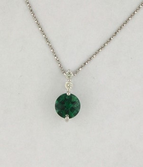 Green Quartz and Diamond Pendant. 14 KW Gold. 0.12 CTTW