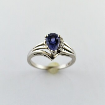 10K White Gold Iolite and Diamond Ring