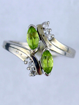 White Gold Twin Peridot Ring