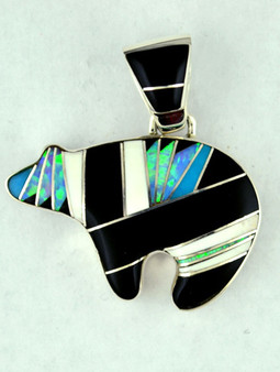 Custom design authentic Native American bear pendant, handcrafted by Navajo artists in sterling silver, onyx, opal, wildhorse turquoise. Chain not included.