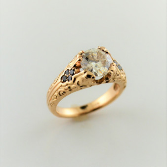 14K Rose Gold Moissanite and Black Diamond Ring