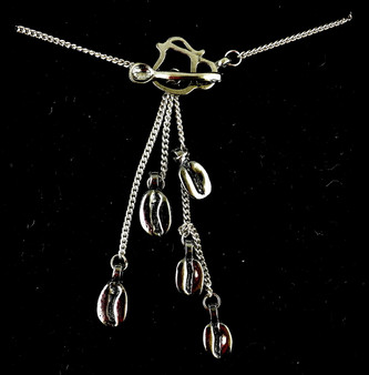 "Our original ""five bean"" pewter lariat necklace, from a one of a kind design created by The Northwoods Goldsmith. ""Cool Beans"" is a registered federal trademark owned by The Northwoods Jewelry Company. Necklace is 20"" long."