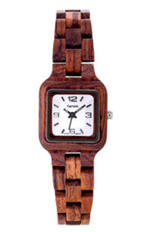Tense handcrafted rosewood Small Summit lady's watch with a white dial, proudly made in British Columbia. The watch is made from 100% recycled and reclaimed wood, with stainless steel crown and clasp. All Tense Watch pieces are hypoallergenic, adjustable in size and manufactured in Canada with Miyota Watch Movements from Japan. Watch comes with a beautiful wooden case, a polishing cloth, and a tool for removing links. L7305R-W