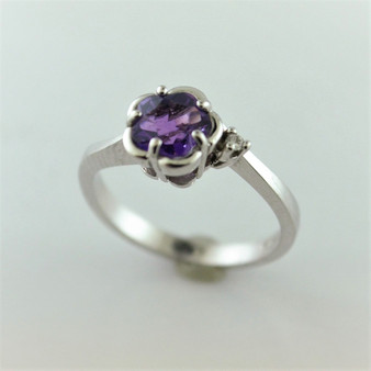 10K White Gold Amethyst Flower and Diamond Ring