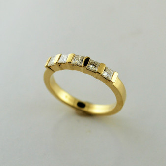 14K Yellow Gold 5-Stone Moissanite Ring