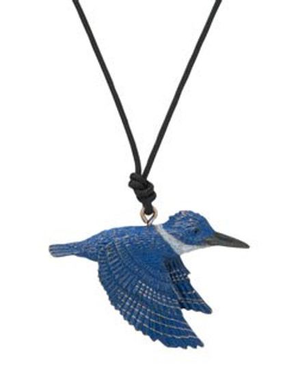 """Cavin Richie design kingfisher pendant, cast in lightweight artist's bronze, in brilliant blue, gray and gold enamel, 1.25"""" X 1.75 """". The fabric cord is adjustable from 18 to 36 inches. Casting was created from one of Cavin's original shed-elk antler or  woolly mammoth ivory carvings, to give the finished product more natural detail than is possible with a wax carving. Cast in the USA and hand finished in Washington State."""