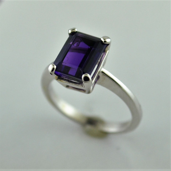 14K White Gold (AAA) Amethyst Ring