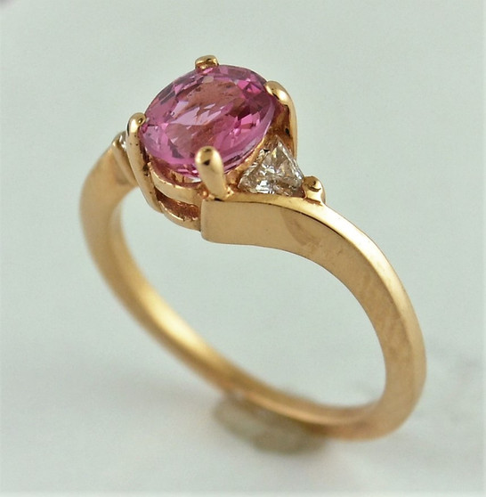 14K Rose Gold Pink Spinel and Diamond Ring