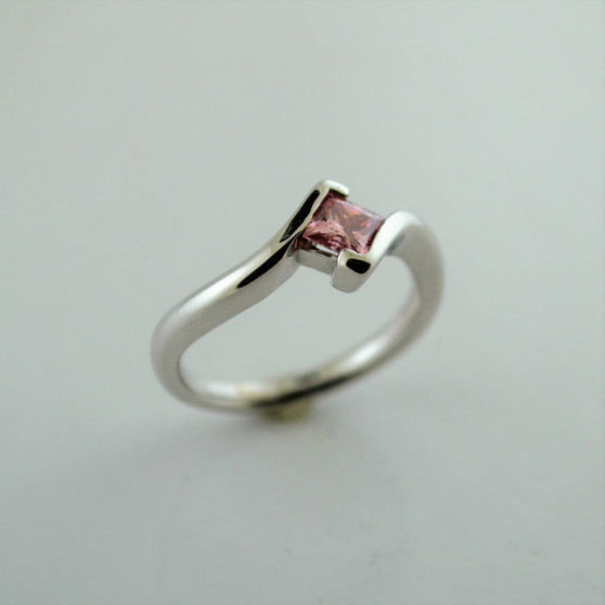 14K White Gold Pink Moissanite Ring
