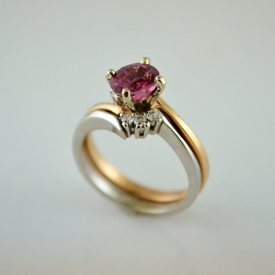 Interlocking Pink Spinel Bridal Set