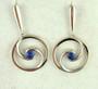 Round Silver Swirl Blue Sapphire Earrings