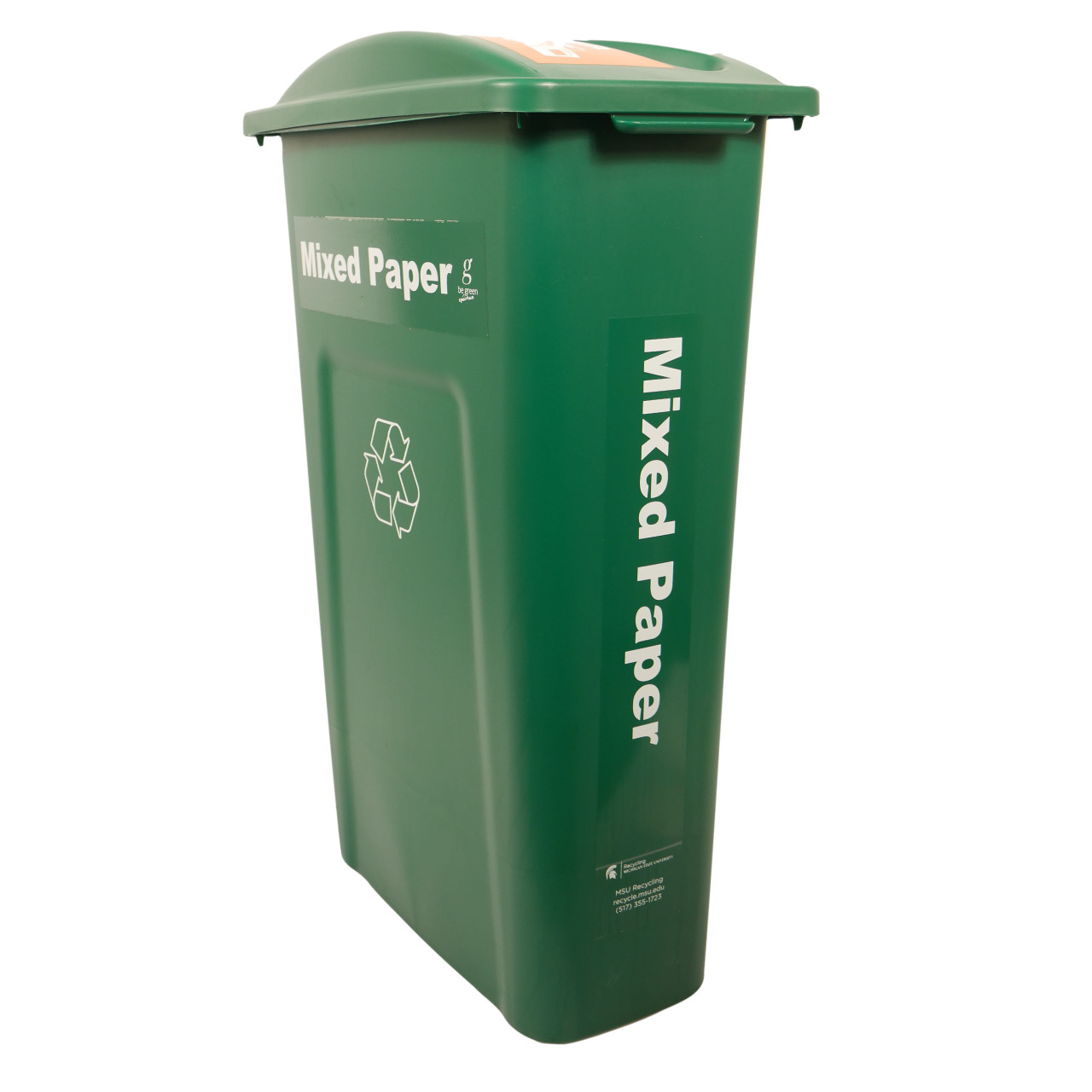 Hallway Recycling Bin for Mixed Paper - angle view