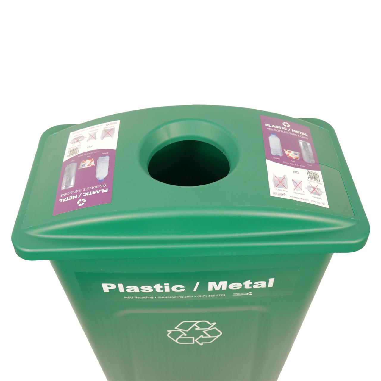 Hallway Recycling Bin for Plastic/Metal - top view