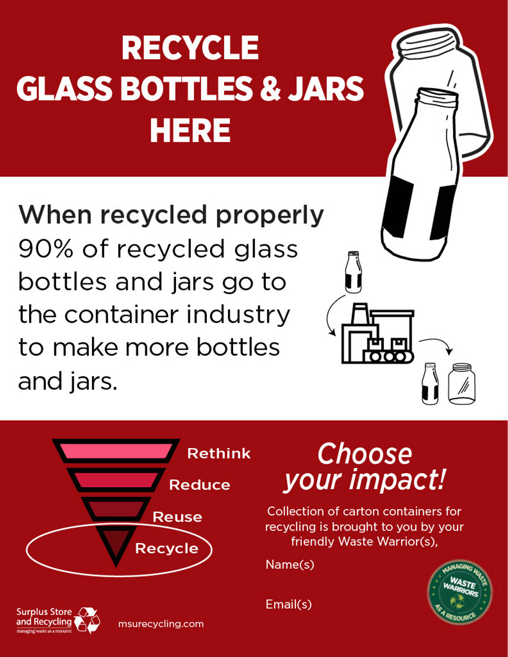 """Recycle Your Glass & Jars - 8.5"""" x 11"""" - Download"""
