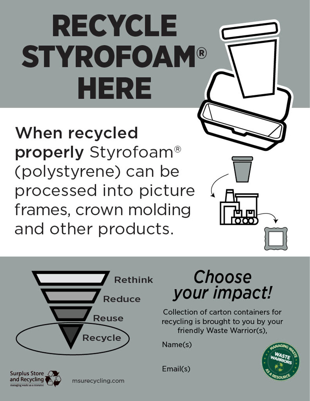 """Recycle Your Styrofoam Here - 8.5"""" x 11""""- Download"""