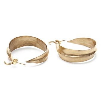 Bronze Leaf Hoop Earrings
