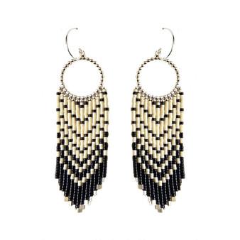 Black Ivory Beaded Earrings