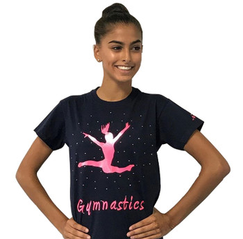 Navy Top with Pink Gymnast and Rhinestones