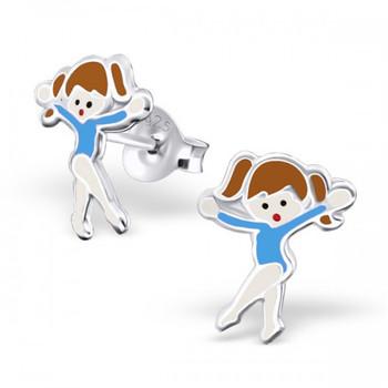 Blue Sterling Silver Gymnastics Girl/ Ballet Dancer Ear Studs
