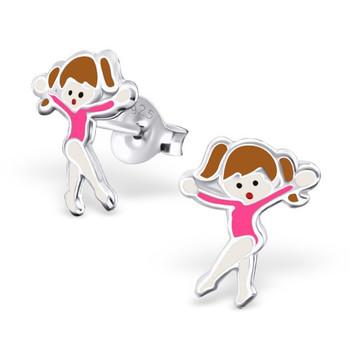 Pink Sterling Silver Gymnastics Girl/ Ballet Dancer Ear Studs