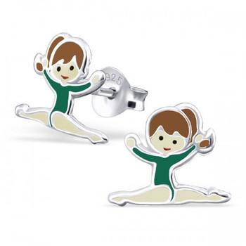 Green Sterling Silver Splits Gymnastics Girl/ Ballet Dancer Ear studs