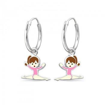 Pink Sterling Silver Splits Gymnastics Girl/ Ballet Dancer Earrings