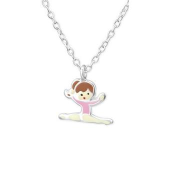 Pink Sterling Silver Splits Gymnastics Girl/ Ballet Dancer Necklace