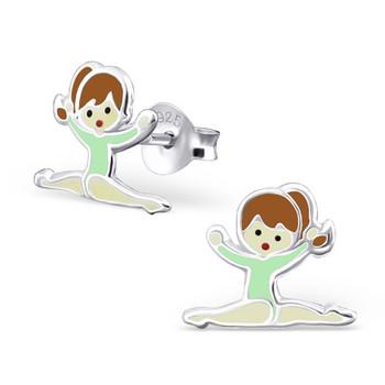 Light Green Sterling Silver Splits Gymnastics Girl/ Ballet Dancer Ear studs