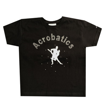 Acrobatics T Shirt with White Gymnasts and Rhinestones