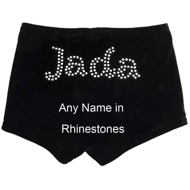 Personalised Black Velour Gymnastics Shorts