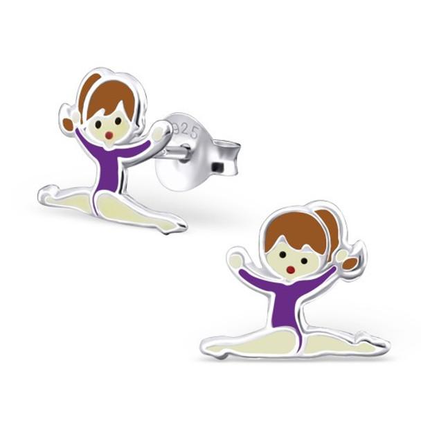 Purple Sterling Silver Splits Gymnastics Girl/ Ballet Dancer Ear studs
