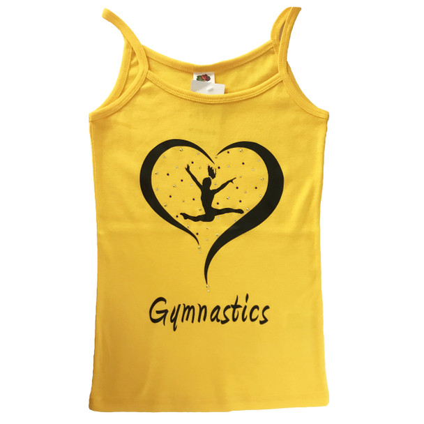Yellow Vest Top with Black Gymnast and Rhinestones