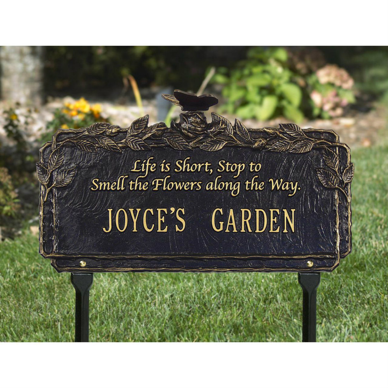 1 Line Customized Aluminum Dragonfly Garden Plaque with Quote 16.625W x 10H