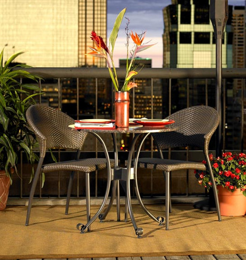 Patio Bistro Table w/ Granite Top & 2 Chairs