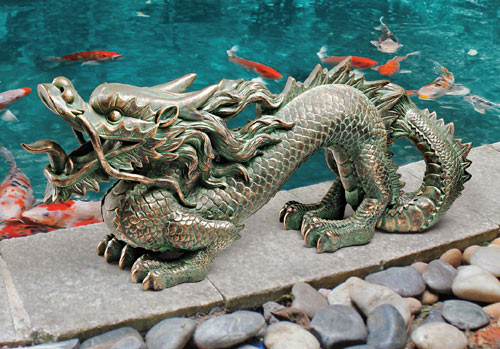 "Asian Dragon of the Great Wall Statue 21""W"